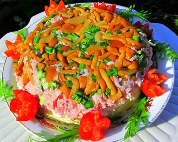 ветчина с опятами салат рецепт с фото