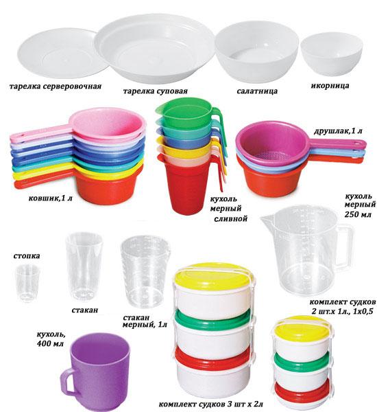 Разновидности пластиковой посуды